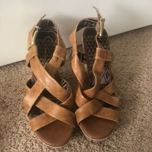 Barely worn soft leather wedges